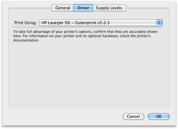 HP LaserJet 5si on Mac OS X screenshot